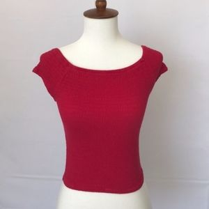WET SEAL Red Stretchy Ribbed Crop Top Jrs Small